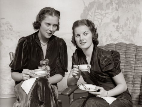 two women drinking